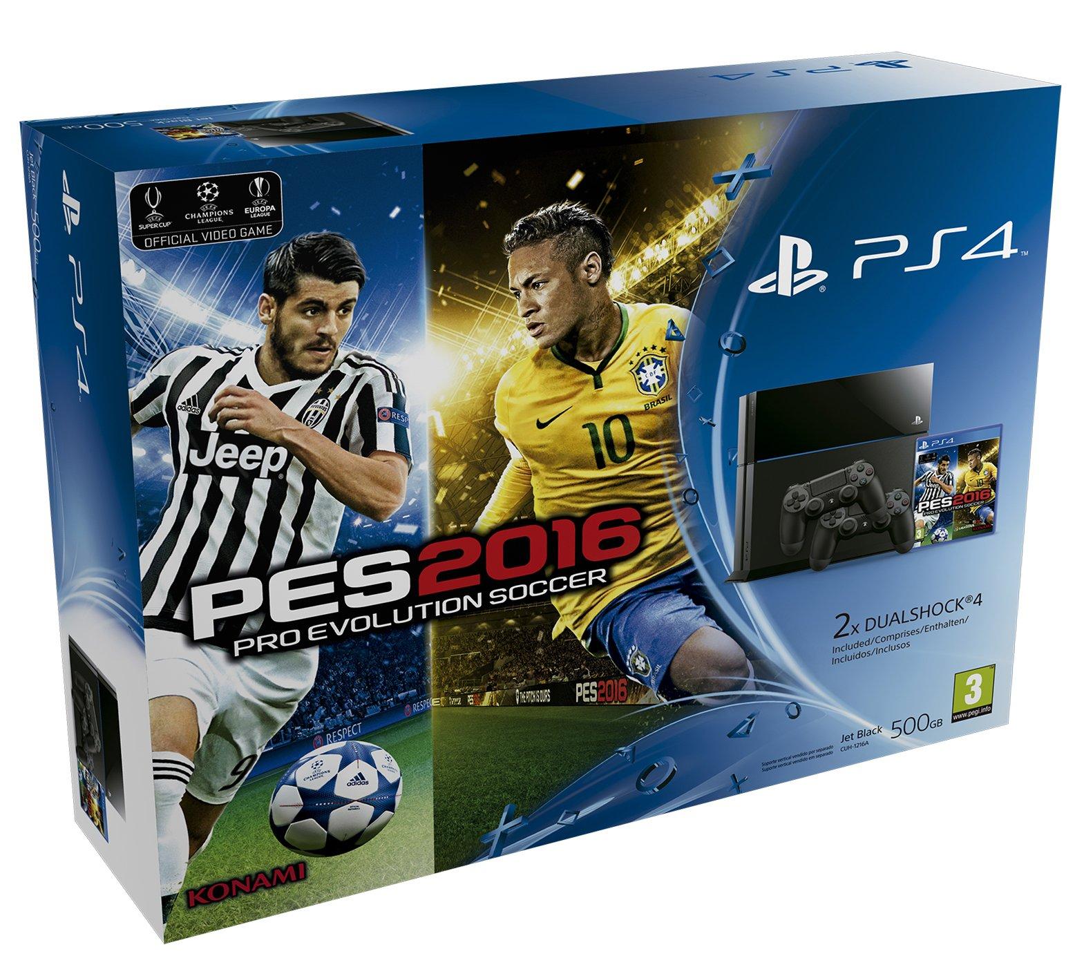 PlayStation 4 - Consola 500 GB + PES 2016 + 2 Mandos DualShock: Amazon.es: Videojuegos