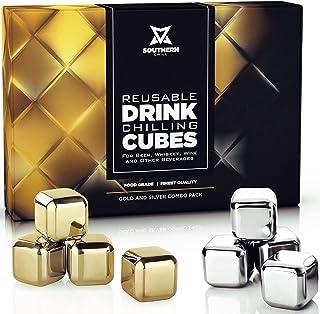 Southern Chill Whiskey Stones Luxus-Geschenk-Set – Edelstahl Rocks 4 Gold  4 Silber Combo – wiederverwendbare Eiswürfel mit Barman-Zange und Gefriertablett