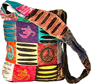 Blue Red Hobo Cotton Sling Cross Body Messenger Shoulder Bag Hippie Boho Bohemian Light Roomy Spacious