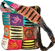 Blue Red Hobo Cotton Sling Cross Body Messenger Shoulder Bag Hippie Boho Bohemian Light Roomy Spacious