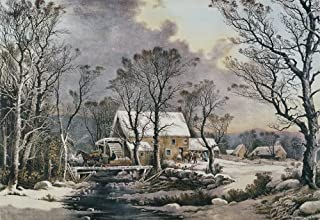Currier & Ives Winter Scene NWinter In The Country The Old Grist Mill Lithograph 1864 By Currier & Ives Poster Print by (18 x 24)