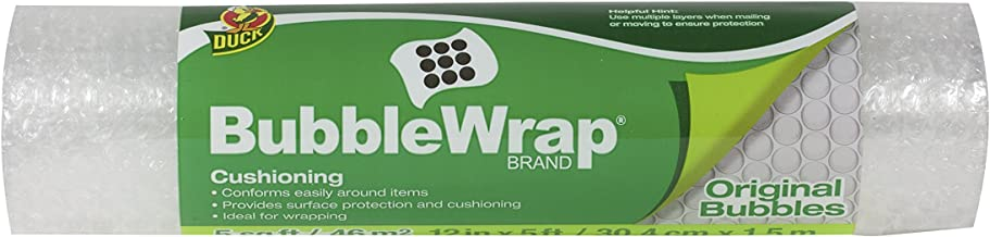 Duck Brand Bubble Wrap Original Protective Packaging Single Roll, 12 in. x 5 ft.