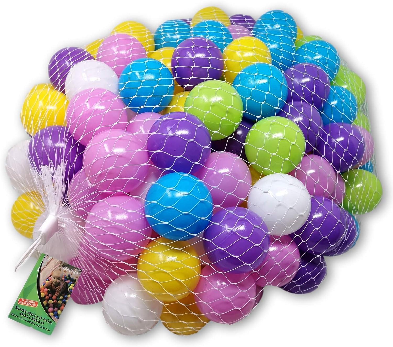 EKNA Pelotas de juego de 5 cm de diámetro, 200 unidades, varios colores a elegir para piscina de pelotas, bolas de plástico de colores verde claro, azul claro, amarillo, rosa, blanco y lila