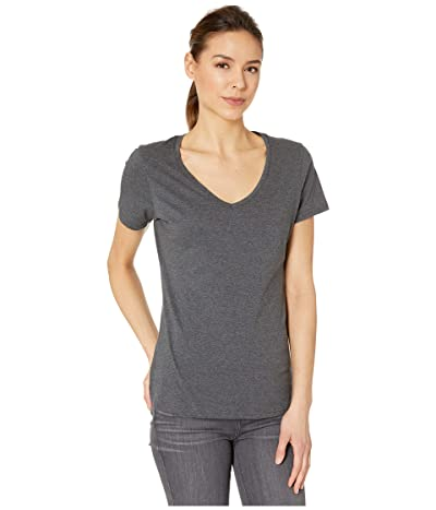 PACT Organic Cotton Featherweight V-Neck Tee (Charcoal Heather) Women
