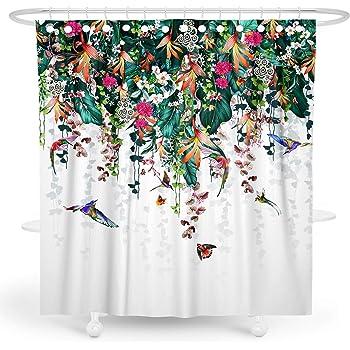 BARGHE Summer Floral Shower Curtain Green Plant Shower Curtain Botanical Tropical Shower Curtain Leaf Shower Curtain Spring Flower Shower Curtain Bird Polyester Waterproof Shower Curtain 72x72