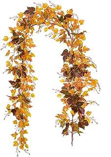 Artiflr 2 Pack Fall Garland Maple Leaf Vine, 6.5 Ft/Piece Hanging Vine Garland Artificial Autumn Foliage Garland Thanksgiv...