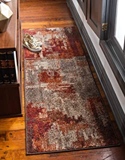Unique Loom Autumn Collection Rustic Casual Warm Toned Abstract Multi Runner Rug (2' 6 x 10' 0)