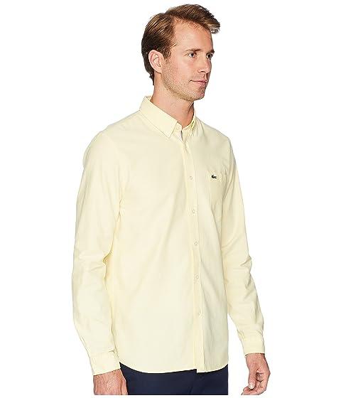 Lacoste Manga Oxford Button Collar Regular Amarillo larga Down FvFqdrx