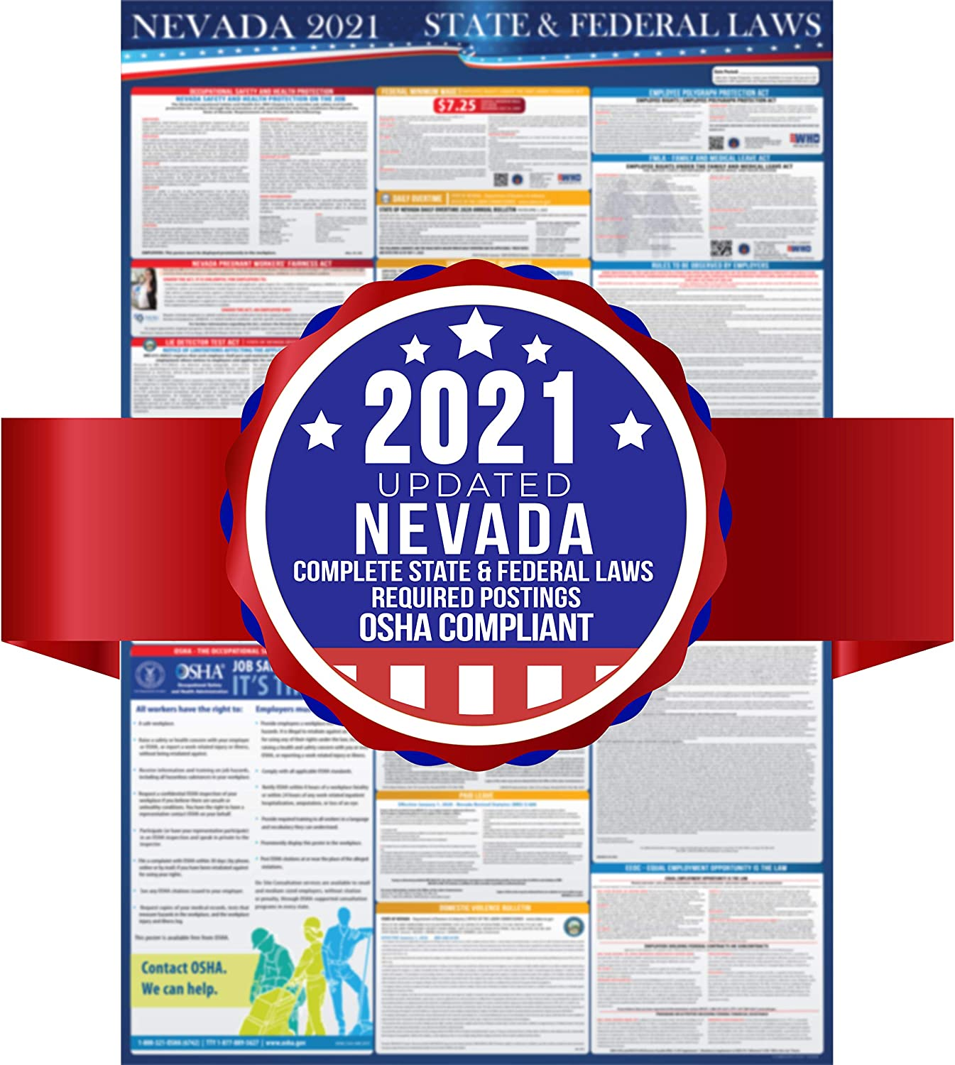 2021 Nevada State and Federal Labor Laws Poster - OSHA Inexpensive Workplace Max 88% OFF