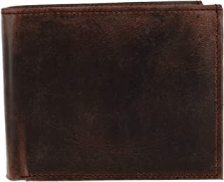 CTM Men's Hunter Leather RFID Bifold Wallet with Flap, Brown