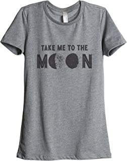 Thread Tank Take Me to The Moon Women's Relaxed T-Shirt Tee Heather Grey