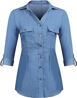 ac4ee88a70f Pinspark Womens Basic Button Down Roll Up Sleeve Jean Denim Shirt Tops S-XXL