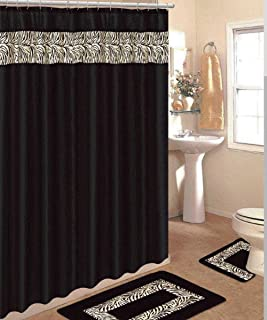 4 Piece Bath Rug Set/ 3 Piece Black Zebra Bathroom Rugs with Fabric Shower Curtain and Matching Rings