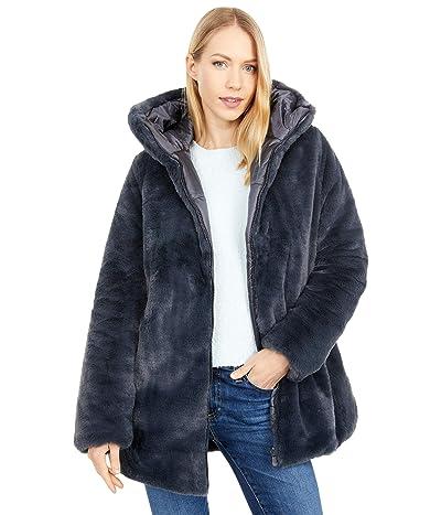 Save the Duck Reversible Faux Fur Hooded Long Jacket (Ebony Grey) Women