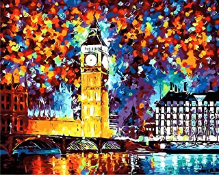 Tonzom Paint by Numbers Kit 16x20 inches Diy Oil Painting with Acrylic Pigment Unique Gift for Adults - London Big Ben (Without Frame)