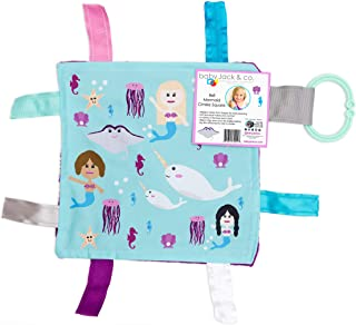 Lovey Chew Blanket Crinkle Toy Tag Square Sensory by Baby Jack (Mermaids and Narwhals)