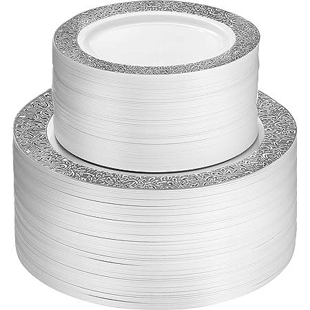 Platos de fiesta de plástico de 100 piezas, color blanco con diseño de encaje plateado, 50 platos de cena de alta calidad de 10.25 pulgadas y 50 platos desechables de 7.5 pulgadas de postre, elegantes y resistentes platos de boda