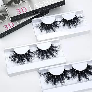 Mink Eyelashes Luxury 25mm Fake Lashes 100% Siberian 3D Mink Lashes Natural False Eyelashes Cruelty-Free Fluffy False Eyelashes Long Reuse Sassy Lashes 3pairs/lot