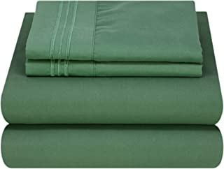 Mezzati Luxury Bed Sheet Set - Soft and Comfortable 1800 Prestige Collection - Brushed Microfiber Bedding (Emerald Green, Queen Size)