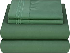 Mezzati Luxury Waterbed Sheets Set - Best, Softest Sheets Ever! - Sale 1800 Prestige Collection Brushed Microfiber (Emerald Green, King Unattached)
