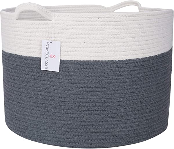 XXL Cotton Rope Woven Blanket Basket 20 X 20 X 13 3 Extra Large Laundry Baskets With Handles For Blankets Baby Toys Pillows Living Room Decorative Storage Hamper Graphite