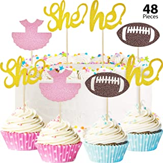 48 Pieces Tutu Football Cupcake Toppers Glitter Gender Reveal Party Cupcake Decorations for Baby Shower Party Accessory