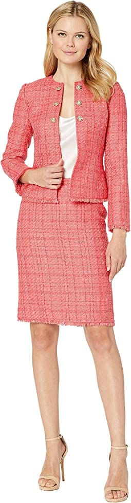 Boucle Skirt Suit with Gold Finish Trim