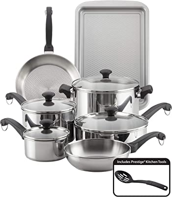Farberware Classic Traditional Stainless Steel Cookware Pots and Pans Set, 12 Piece