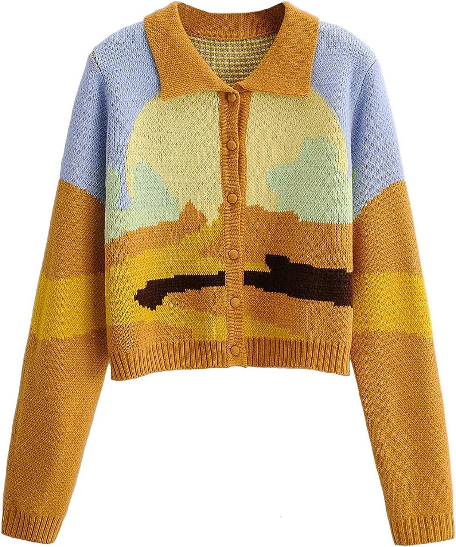 Women Y2K Button Down, Lapel Cardigan Graffiti, Slim Sweater Coat Casual Knit Sweaters Y2K Cardigan Sweaters for Women