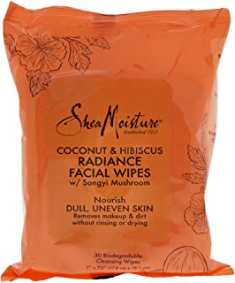 Shea Moisture Coconut and Hibiscus Radiance Facial Wipes, 322.05 grams