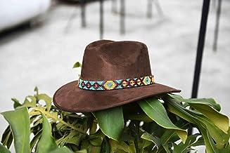 Sombrero de Gamuza artesanal café M con arte naranja azul