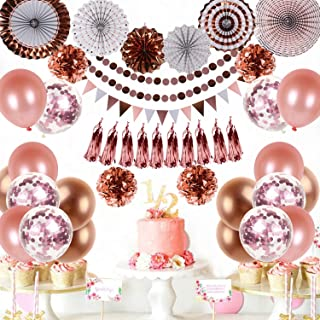 Party Decorations, Multi-color Hanging Balloons, Paper Fans, Pom Poms Flowers, Tassels, Garlands & Triangle Flags for Birt...
