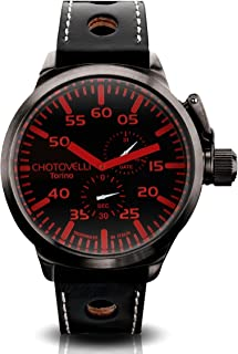 Chotovelli Men's Big Pilot Watch- Analog Display, Sapphire Glass, Italian Leather Racing Wrist Band | 52mm