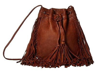 Scully Chickoa Drawstring Crossbody w/ Fringe (Tan) Cross Body Handbags