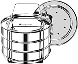 EasyShopForEveryone Stackable Steamer Insert Pans with 2 Lids, Cook 3 Dishes at a time, Compatible with 6qt Instant Pot, P...