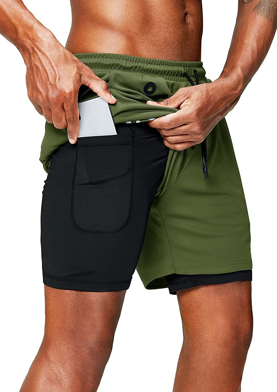Pinkbomb Men's 2 in 1 Running Shorts with Phone Pocket Gym Workout Quick Dry Mens Shorts 5 Inch