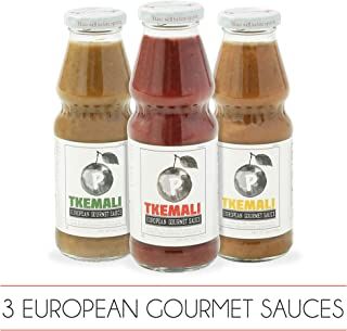 PMONA Tkemali European Gourmet Sauces, 13 oz Bottle, 3Count Variety Pack (Red, Green & Yellow Sour Plum Sauces), Gluten Free, Kosher Certified Condiments, Preservative Free Sour Sauce