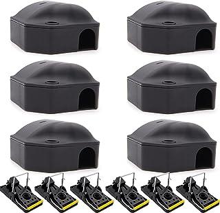 6 Boites + 6 tapettes anti souris | attrape souris intérieur et extérieur | station professionnelle pour pièges à rongeurs...