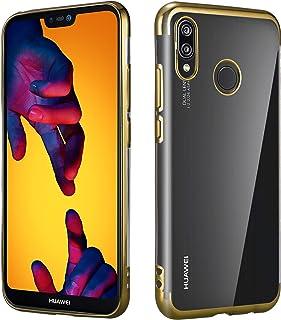 PIXFAB - Carcasa de silicona para Huawei Y7 2019 / Y7 Prime 2019 (galvanoplastia), color transparente, silicona, dorado, For Huawei Y7 2019 / Y7 Prime 2019