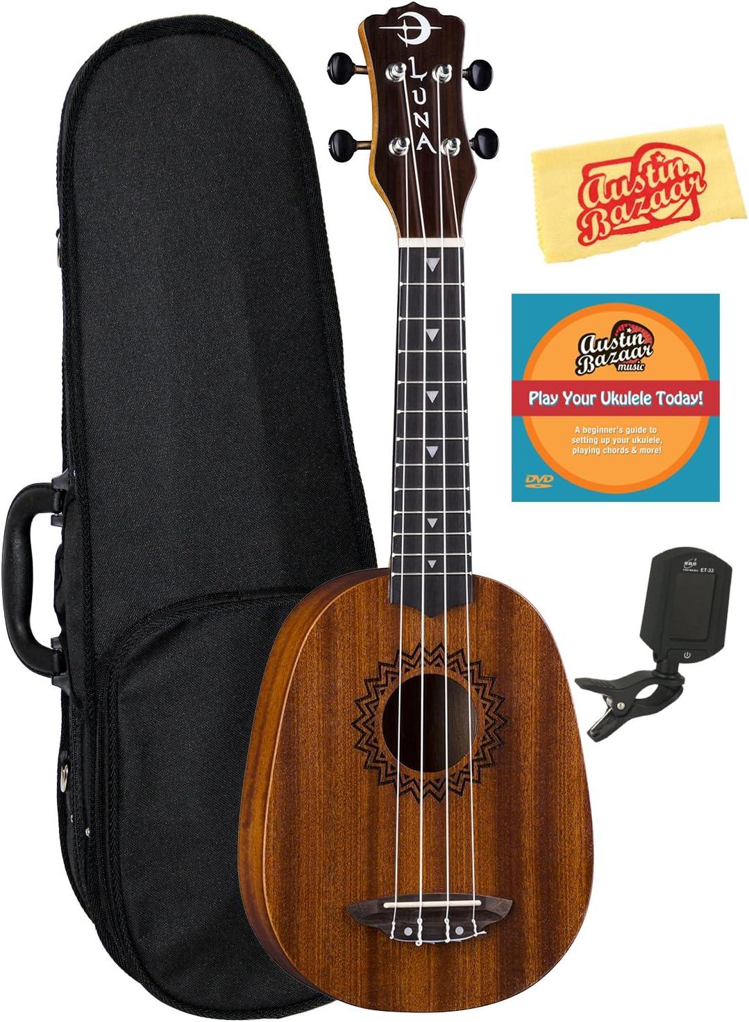 Luna Guitars Be super 2021 new welcome Vintage Mahogany Pineapple Ukulele Hard with Bundle