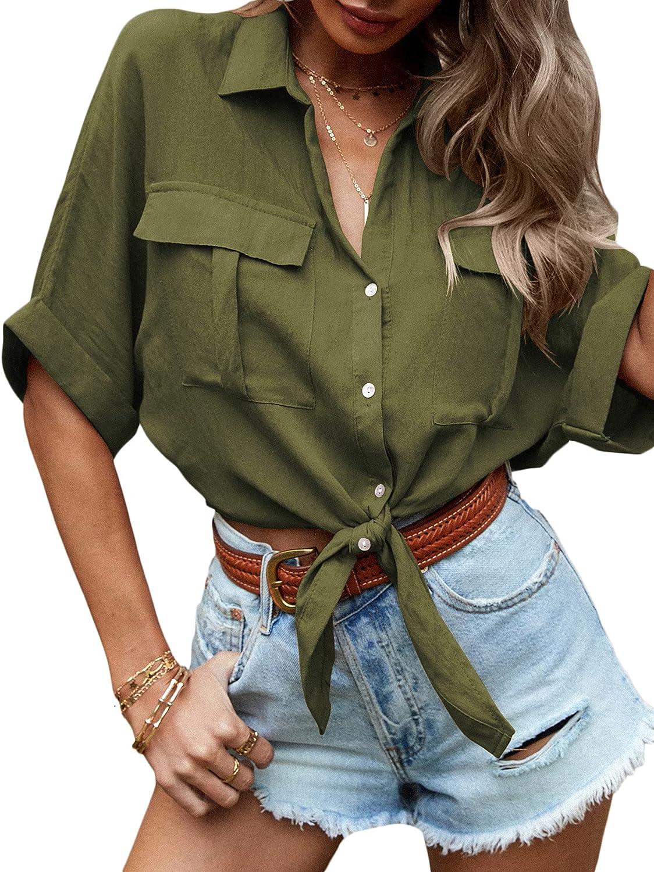 Verdusa Women's Roll Up Sleeve Pocket Front Button Down Crop Shirt Blouse