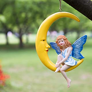 Fairy Garden Accessories Moon Decor - 9 Inches Outdoor Hanging Decor - Fairy Garden Kits for Girls, Fairies Garden Supplies - Moon Fairy Lawn Ornaments and Statues