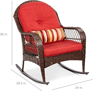 Best Choice Products Outdoor Wicker Patio Rocking Chair for Porch, Deck, Poolside w/Steel Frame, Weather-Resistant Cushions -