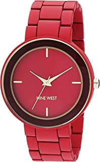 Nine West Women's Rose Gold-Tone and Black Vegan Leather Strap Watch
