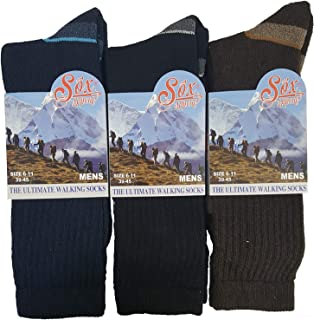 3 Pairs Sox Appeal Mens Ultimate Walking Hiking Boot Socks By Undercover