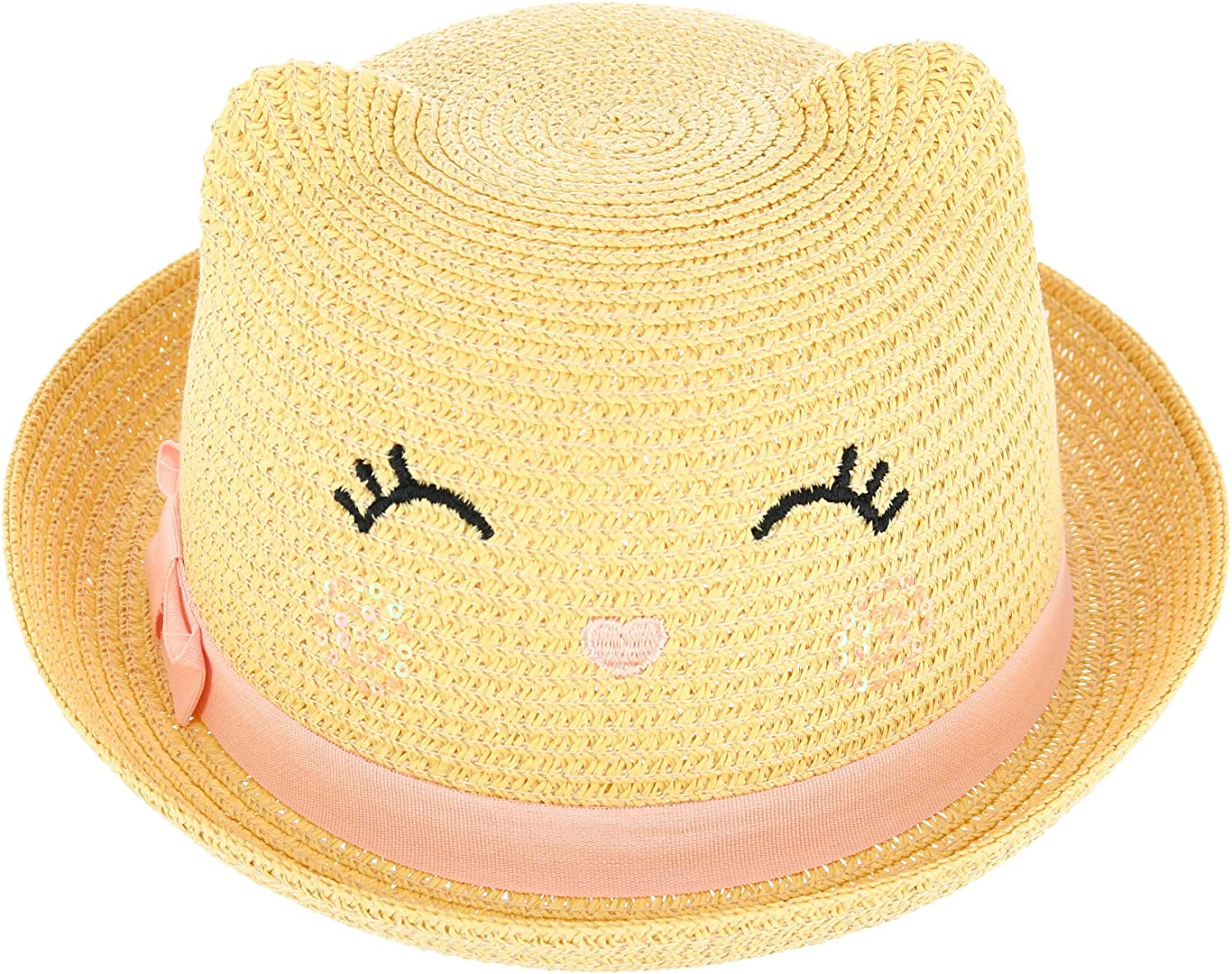 Save Mail order cheap money CTM Girl's Smiling Kitty Sun Hat Straw Face