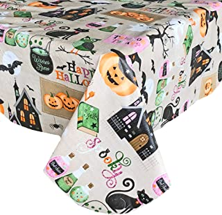 Newbridge Happy Halloween Witches Brew Vinyl Flannel Backed Tablecloth - Ghosts, Bats, Witches Spells and Haunted House Halloween Tablecloth, Easy Care Wipe Clean, 60 in x 84 in Oblong/Rectangle