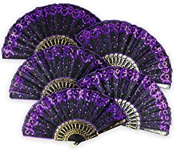 Just Artifacts 9-Inch Black w/Decorative Sequin Embroidery Folding Silk Hand Fans (Set of 5, Purple)