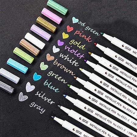 Lypumso 10 Stylos Marqueur Métallique Pens, Métalliques Assorties Feutres Métallique Stylos Pour Création de DIY Album, Scrapbooking, Travailler pour la Carte (Multicolore)