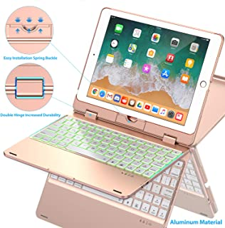 Keyboard Case Compatible with iPad 2018 (6th Gen)/2017 (5th Gen)/Pro 9.7/Air 2 & 1 | Double-Rotating Hinge & Aluminum Keyboard/Case | Colorful Backlit Keys & Long Working Time (Rose Gold)